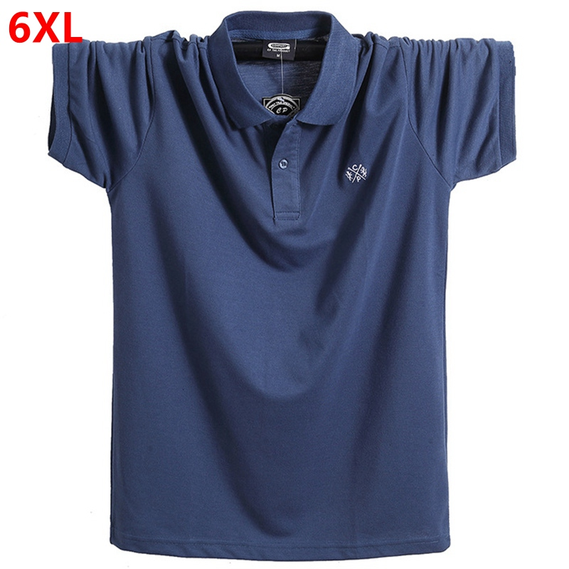 New lapel   polo   shirt summer Extra large   POLO   short-sleeved Loose oversized fat-packed 5XL 6XL