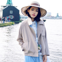 2017 Spring New Literary Style Lapel Khaki Double Breasted Cotton Linen Coat