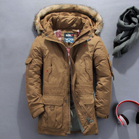 Men Detachable Lining Hooded Thick Down Jacket Winter Men Clothing Winter Men's Long Fur Collar Large Size jackets Coat 5XL 6XL
