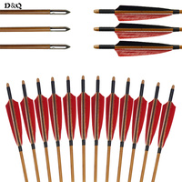 6pcs 33 Archery Bamboo Arrows For Traditional Recurve Bow Long Bow Hunting Shooting Practice With Turkey