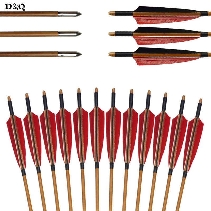 6pcs 33'' Archery Bamboo Arrows for Traditional Recurve Bow Long Bow Hunting Shooting Practice with Turkey Feather & Field Point tango кпб bamboo 3d digital 1331 33