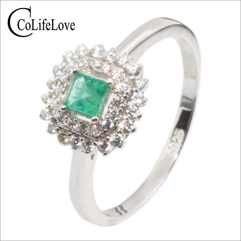 Vintage silver emerald ring for wedding 3 mm 3 mm natural SI grade emerald jewelry 925