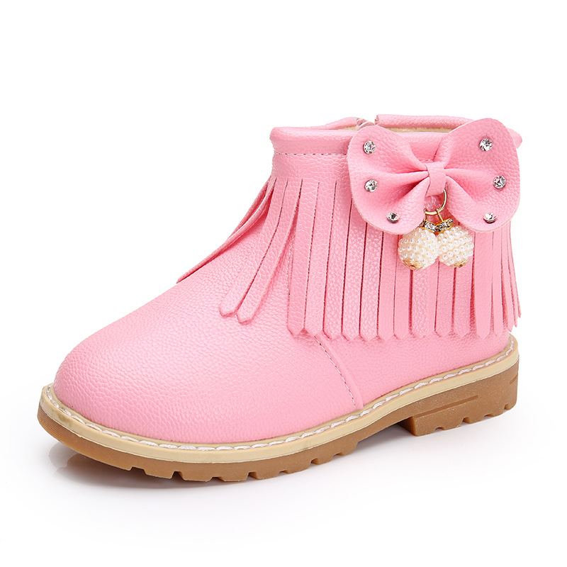 Autumn Winter Fashion Children 39 s leather boots For Baby Girls Leisure short boot Flowers Warm plush Kids Martin boots snow boot in Boots from Mother amp Kids