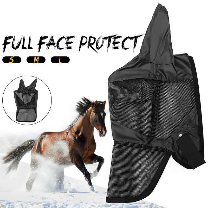 Horse Fly Mask Hood Full Face Nose PVC Mesh Anti-flies Midges Black With Ears Pet Supplies Cool Comfort  And Dry Quickly M/L