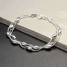 2019 New 1Pcs Women Fashion Three Lines Light Olive Beads Bracelets Charming Silver Plated Chain Women Jewelry For Lady Gift(China)