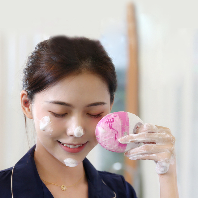 Makeup Deep Pores Cleaning Electric Waterpoof Silicone Sonic Vibration Facial Wash Brush Cleaner Cleanser Beauty Massager 6