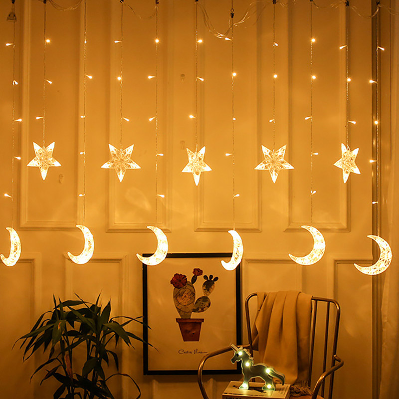 220V Christmas Garlands LED String Christmas Net Lights Fairy Xmas Party Garden Wedding Decoration Curtain Lights