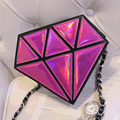 Vintage women leather handbags mini Messenger shoulder bags holographic evening bags Female chain handbags 3D laser diamond bag
