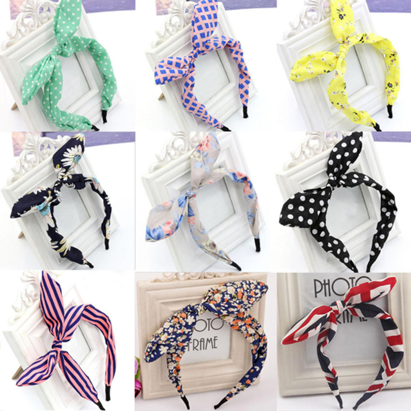 Sale 1pc Fashion Headband Wide Ribbon Bowknot Wire Bendy Bow For Women Rabbit Ears Bunny Diverse Gift Hair Accessories