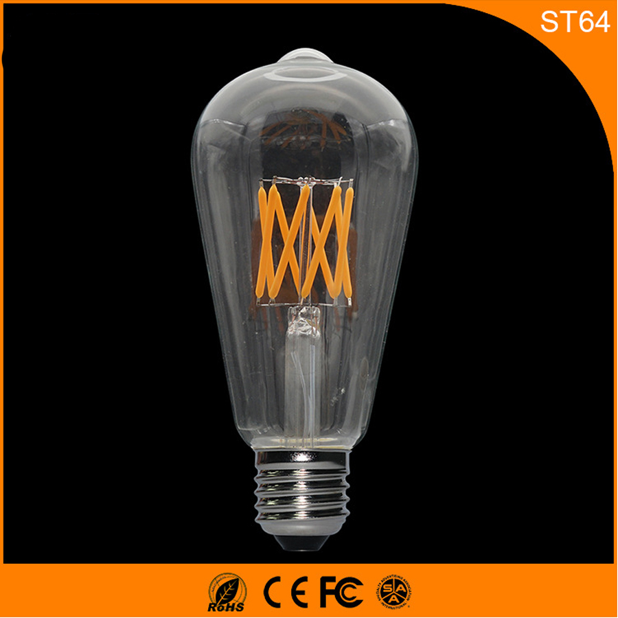 50PCS Retro Vintage Edison E27 B22 LED Bulb ,ST64 6W Led Filament Glass Light Lamp, Warm White Energy Saving Lamps Light AC220V 5pcs e27 led bulb 2w 4w 6w vintage cold white warm white edison lamp g45 led filament decorative bulb ac 220v 240v