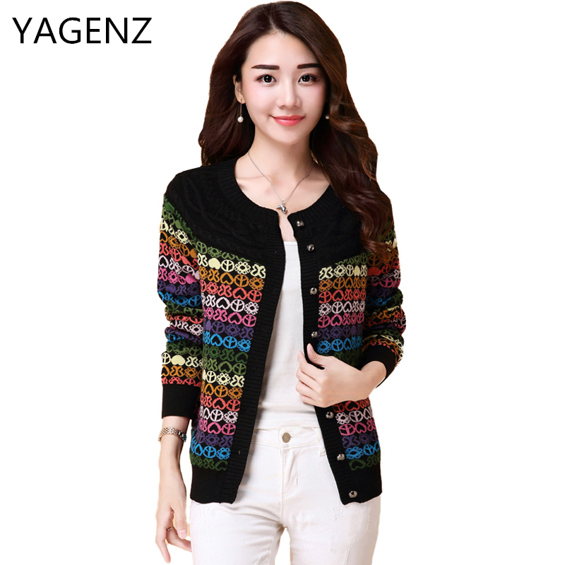 YAGENZ Spring Knit For Women Short Coat Fashion Loose Long-sleeved Women Sweater Coat Large size Autumn Female Cardigan S-5XL ny collection new blue women s size large l wide knit v neck sweater $60 083