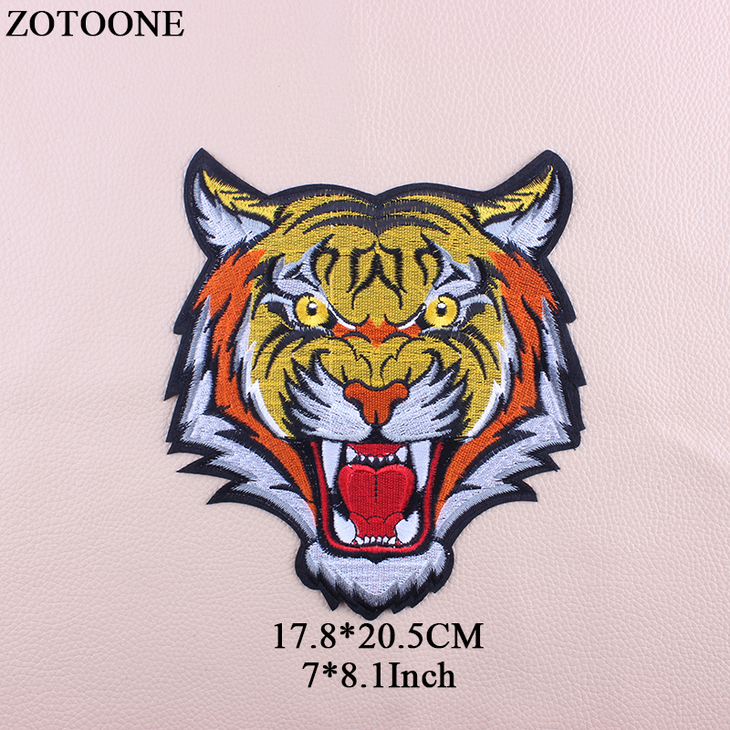 ZOTOONE Embroidery Big Tiger Patch Iron On Transfer Animal Patches Stickers For Clothes Jeans Jacket Applique Cloth Patch DIY G in Patches from Home Garden