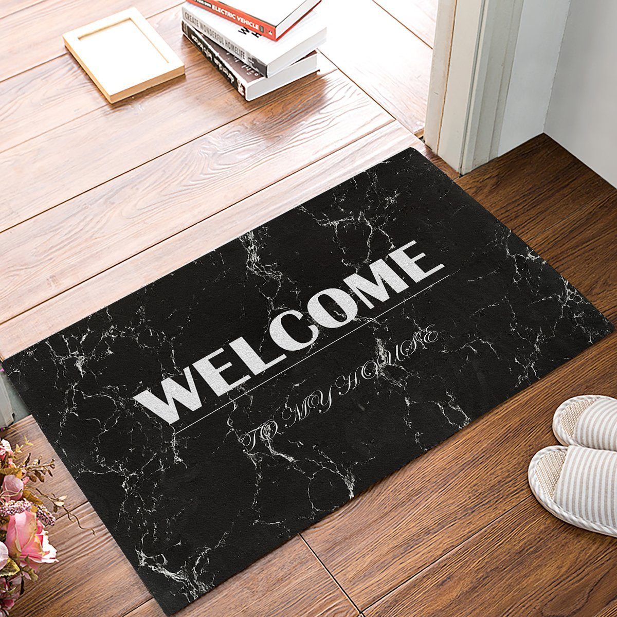 White Kitchen Floor Mats: White Welcome On Black Marble Texture Decorative Pattern