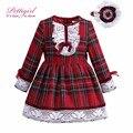 Pettigirl boutique cuadrícula de color rojo vestidos de las niñas con vestidos para niñas g-dmgd908-1008 vendas de algodón niños ropa vendedora caliente