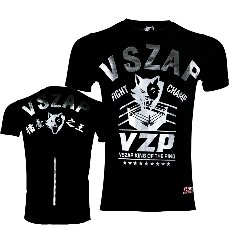 VSZAP genuine silver MMA Muay Thai fighting fitness game played short-sleeved T-Shirt Me ...