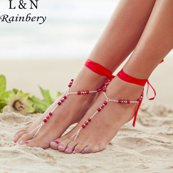 Rainbery 1 PC Bridal Barefoot Sandals Multicolor Real Pearl Ribbon Anklet Wedding Beach Foot Jewelry For Women