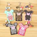 Cute Bear Shaped Cartoon Leopard PU Leather Credit Card Holder Case Keychain Business ID Bus Card Cover for Girls