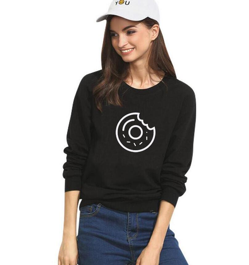Cute donut printing Harajuku sweatshirt 2017 fashion casual female tracksuit round neck hoodies