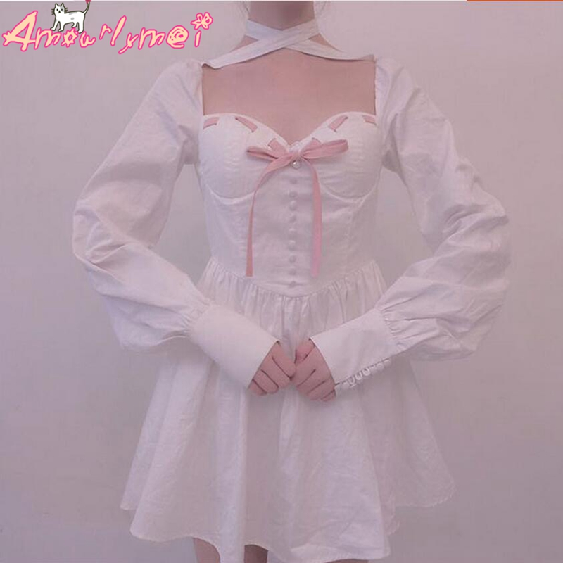 Longues Femmes Femininos Mori Robe Arc 2018 Rose Robes Manches Mignon Fille Lolita Kawaii Princesse Sexy Out Creux U4qOxH