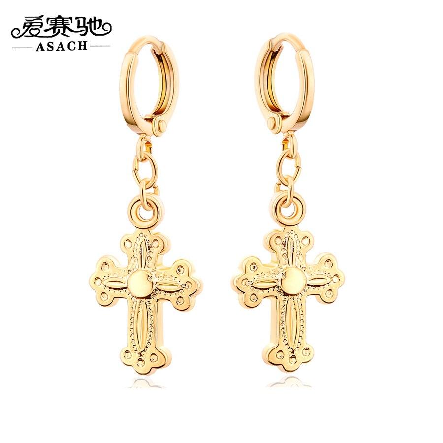 Asach Steampunk Plated Alloy Charm Cross Pendant Earring Long Earings  Fashion Jewelry Dangler Dangling Earrings For