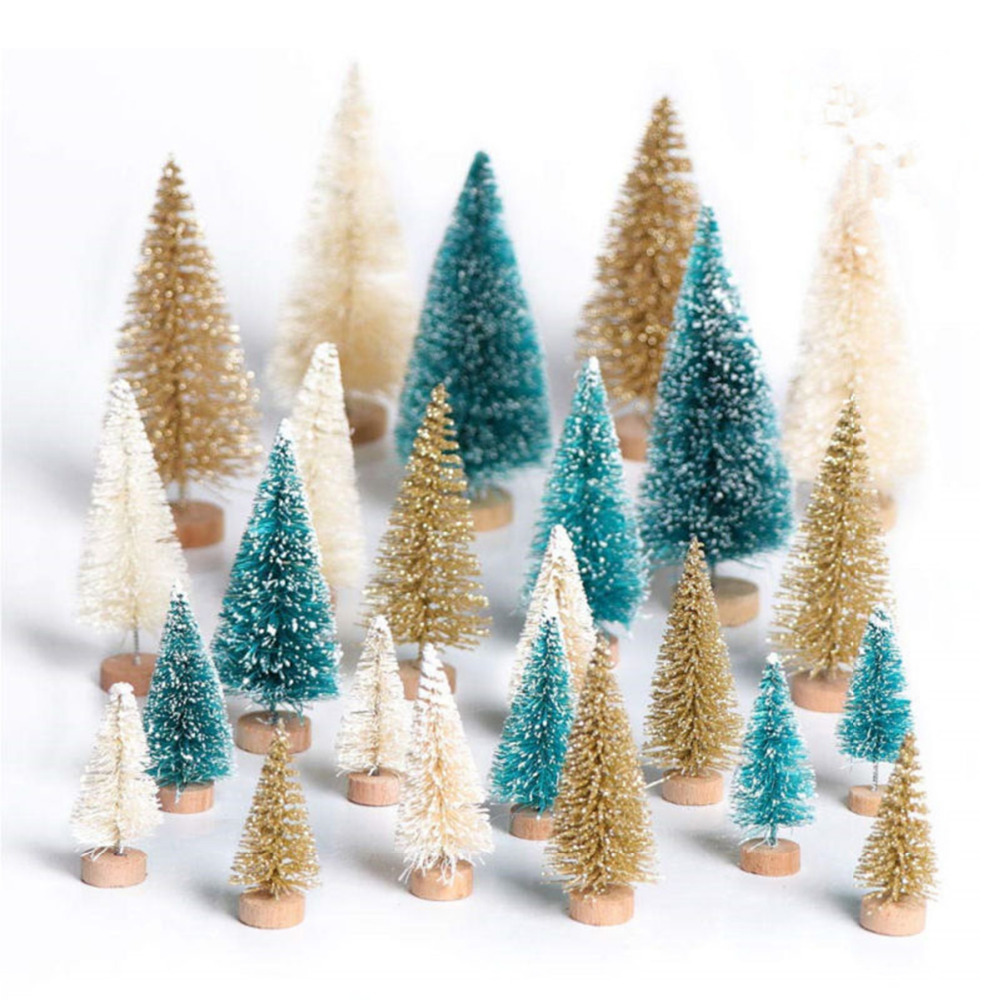24Pcs Mini Christmas Tree Cedar Ornaments Tabletop Trees