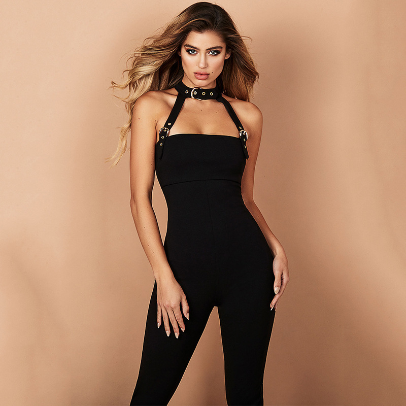 Women's Clothing Qa400 Sexy Deep-v Bodysuit Summer Jumpsuits Women Rompers Slimming Casual Streetwear Body Femme Black Red Grey