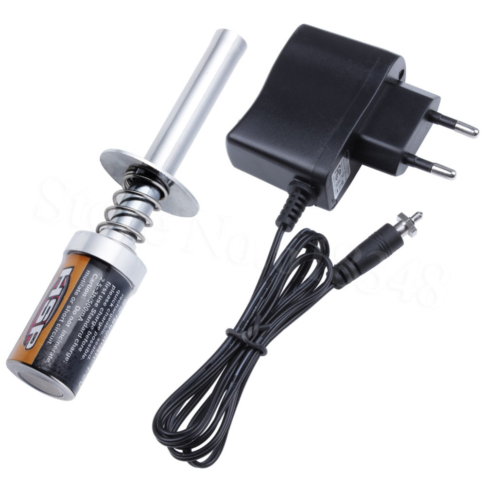 RC 1800mAh Rechargeable Glow Plug Igniter Starter Ignitor With Charger For 1/8 1/10 Nitro Buggy Truck Plane HSP 80101