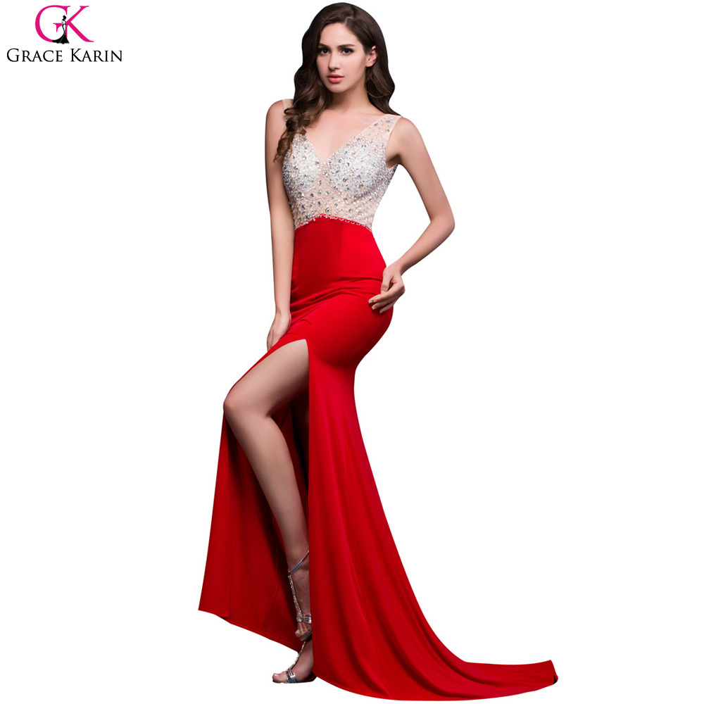 6ae62f3208f6 Grace Karin Long Mermaid Prom Dresses Beaded Sequin Backless Sleeveless  High Slit V Neck Red Formal Gowns Sexy Party Dress Prom-in Prom Dresses  from ...