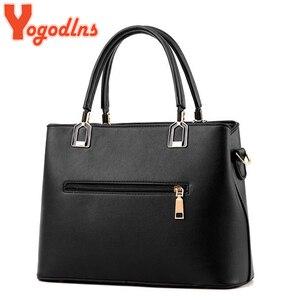 Image 4 - Yogodlns Klassische Reine Farbe Frauen PU Leder Tote Quaste Taschen Weibliche Top griff Handtasche Mode Umhängetasche umhängetasche für dame