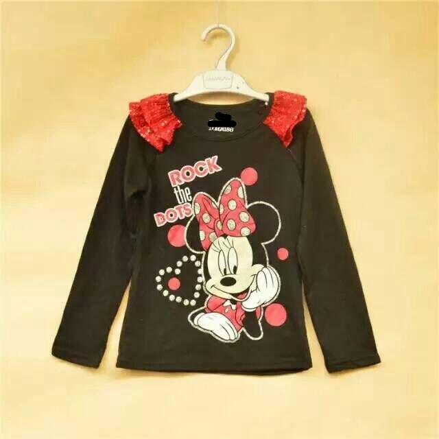 Cartoon T-Shirts Clothing Top-Tees Spring-Fall Long-Sleeve Girl Kids Children 1-6Y