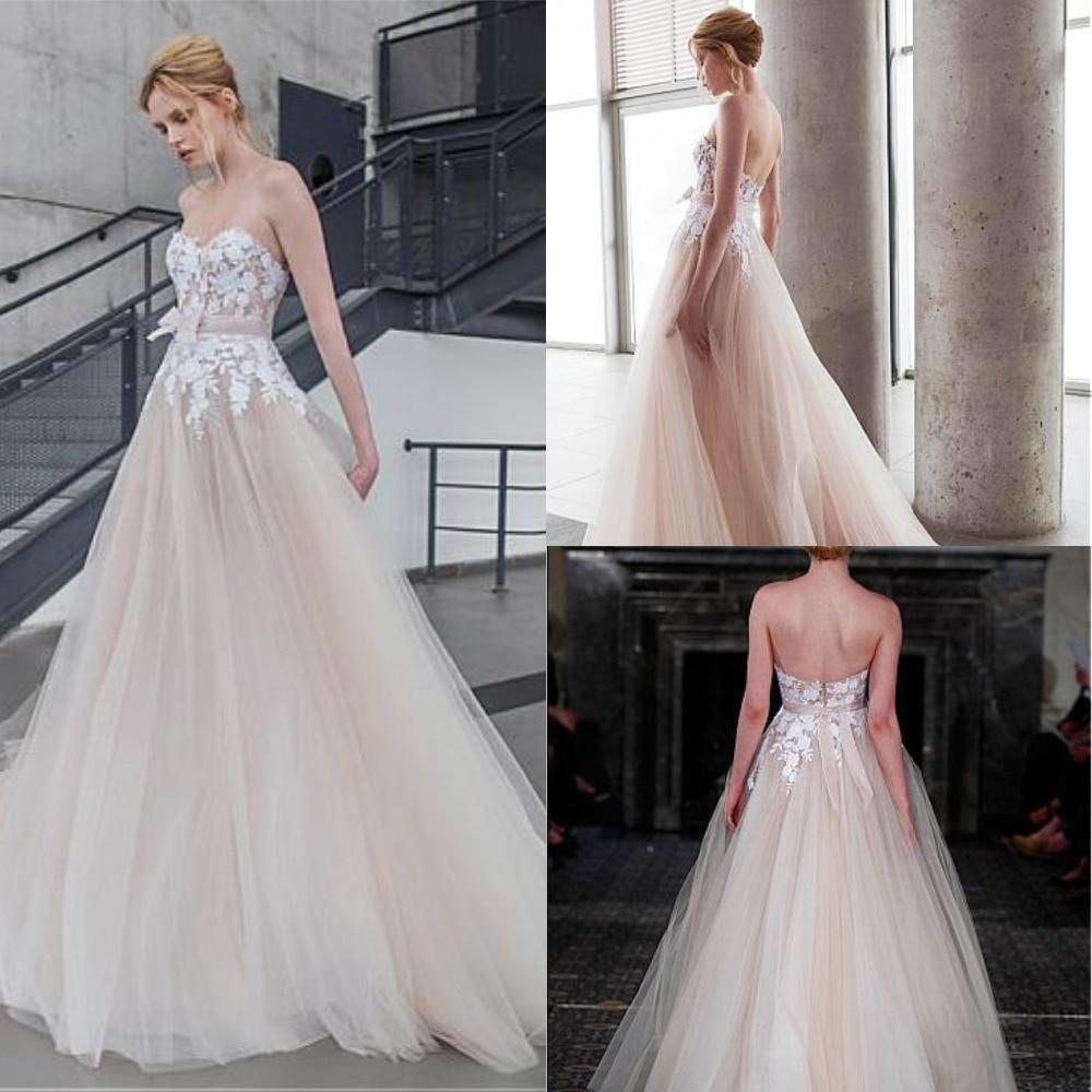 Graceful Tulle Bateau Neckline A-line Wedding Dresses Champagne Backless Open Back Long Tulle Bridal Gowns Vestidos De Noiva