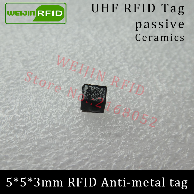 UHF RFID anti-metal tag 915mhz 868mhz Alien Higgs3 EPCC1G2 6C 5*5*3mm very small square Ceramics smart card passive RFID tags 1000pcs long range rfid plastic seal tag alien h3 used for waste bin management and gas jar management