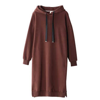 Toyouth Hoodie Dress Women Long Sweatshirt With Hood 2019 Autumn Winter Casual Solid Color Hooded Pullover Sweatshirts