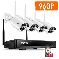 ZOSI Plug And Play 4CH Wireless NVR Surveillance System 1TB HDD 960P HD IR Outdoor CCTV WIFI IP Security Camera System