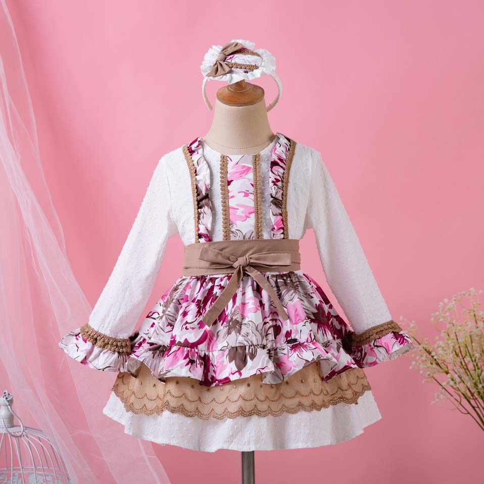 Pettigirl 2019 Newest Baby Girls Dress Flower Printed Princess Kids Dress  For Girls With Hairwear Kid ecee855fb964