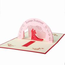 Fashion 3D Pop Up Foldable Cut Paper Greeting Cards Creative Handmade Love Wedding Invitation Post Cards Valentines Commemorate