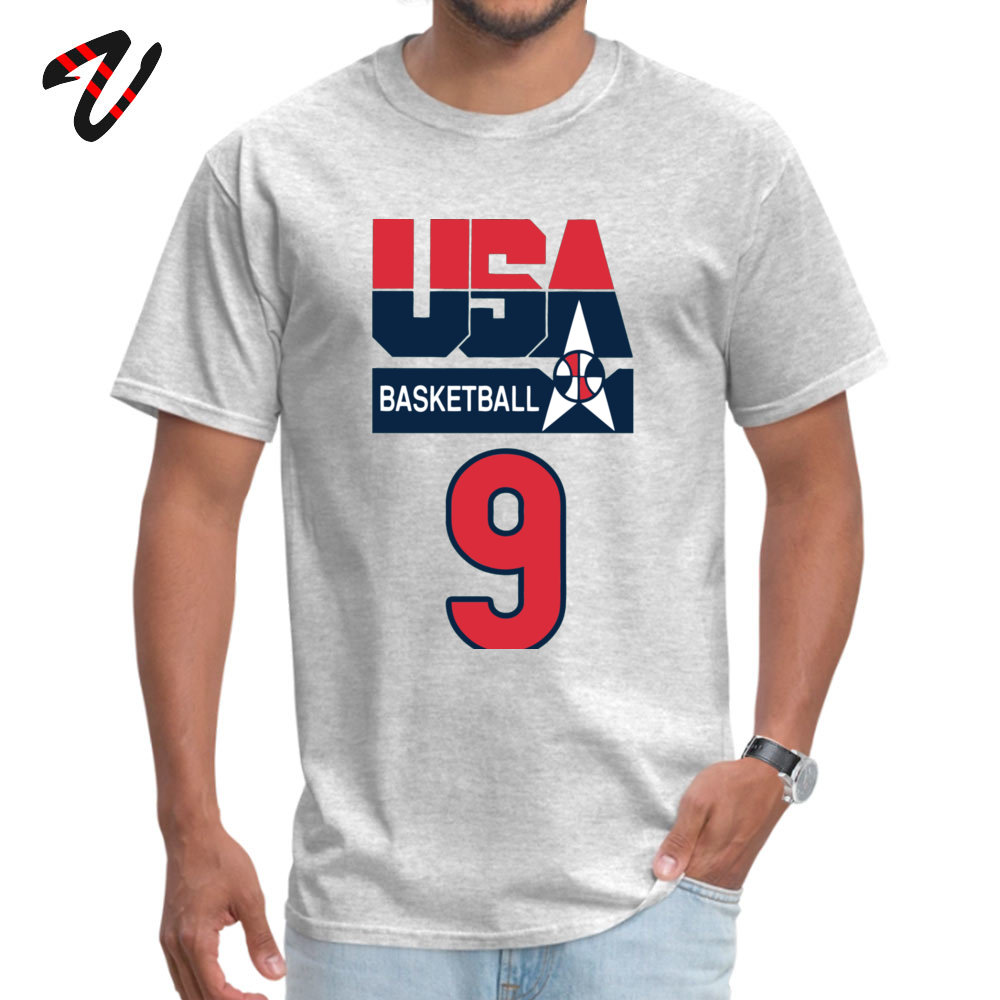 DREAM TEAM JORDAN Custom T Shirt Short Sleeve for Men All Cotton Summer/Fall O-Neck T Shirt Customized T Shirt Family DREAM TEAM JORDAN -4466 grey