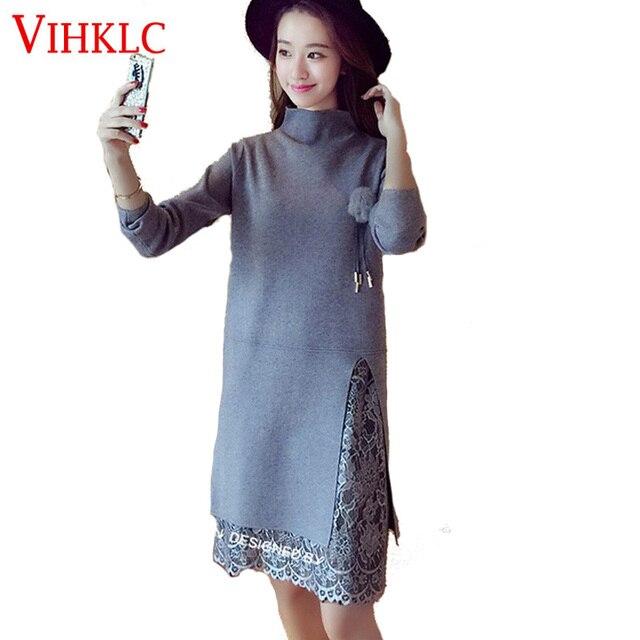 cfaa1a84c36 Зимняя женская обувь 2016 платье вязаное платье водолазка Для женщин свитер Кружево  платье Свитеры для женщин