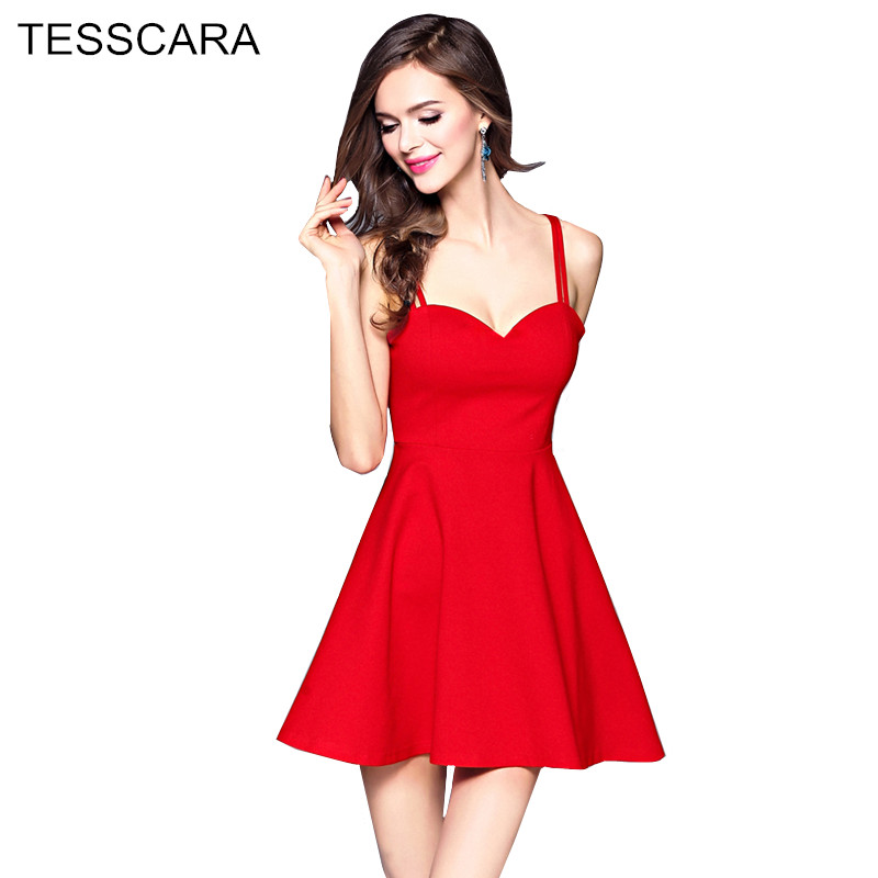 e6e42948c8c Women Summer Sexy Short Dress Female Brief A-Line Vestidos Retro Robe Femme Casual  Red Knitted Clothing Sweet Bodycon Sundress
