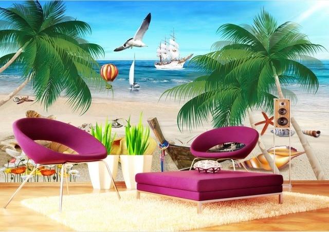 Custom 3d Wallpapers Wall Sea View Beach Tv Sofa Background
