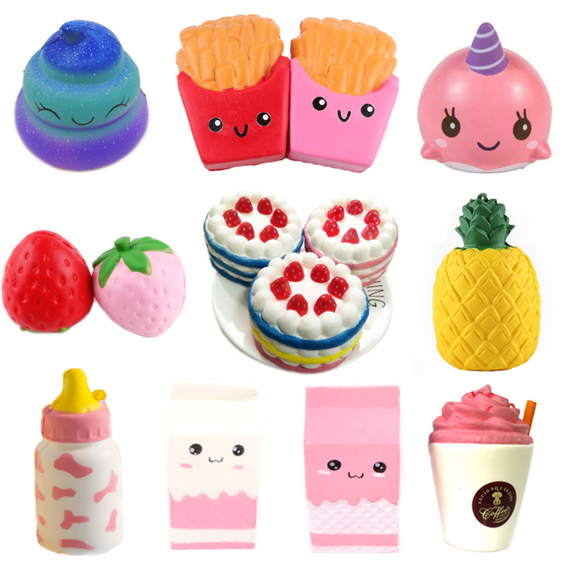 Funny Creative Squishy Simulation Strawberry Cake Slow Rising Relieves Stress Toys Gift For Children #A