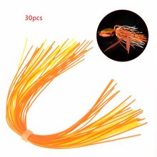 30pcs Fishing Skirts PVC Silicone Band Rubber Jig Squid Lure Spinner Bait Thread(China)