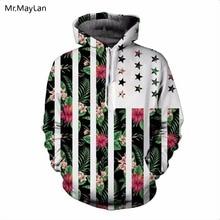 Stars Plant Striped Floral 3D Print Hoodies Unisex Women Hipster Pullover Hood Sweatshirts 2018 Girls Fashion Streetwear Clothes кенгуру huf floral pullover hood navy floral