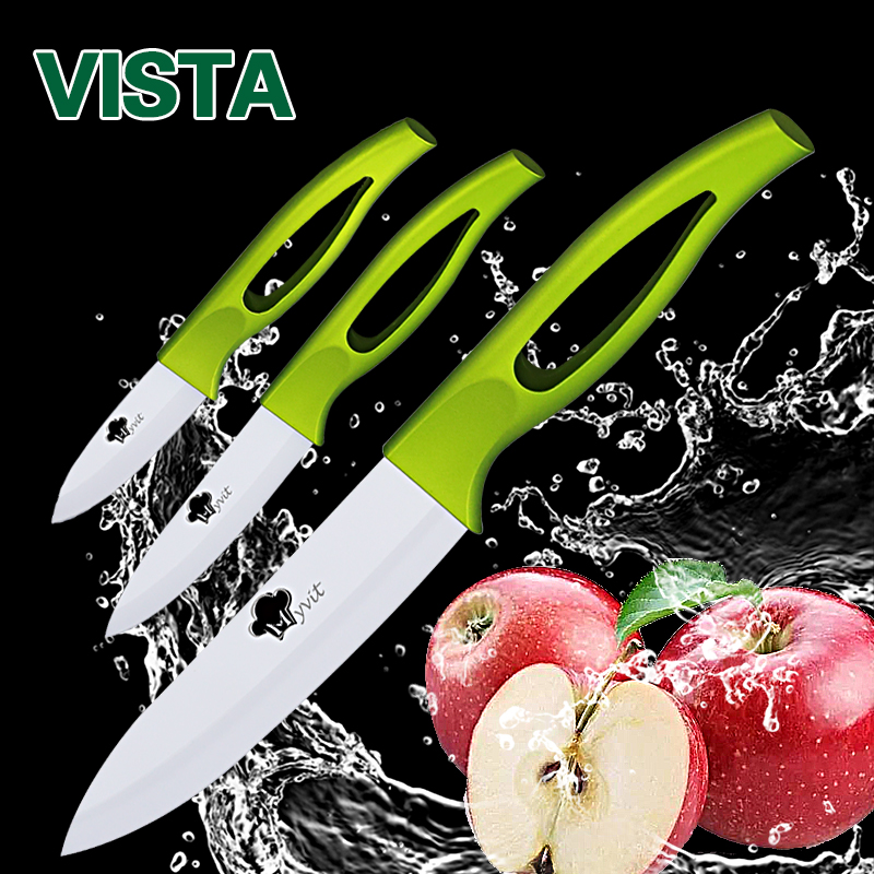 Ceramic Knives 3 4 5 inch fruit utility slicing Knives Green Handle White Blade Cooking Kitchen Knife Cook Set