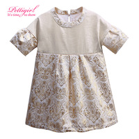 Fashionable Girl Floral Dress Gorgeous Kids Patchwork Straight Dresses  Girls Puff Sleeve Retail Robe Fille Enfant GD81126-19L