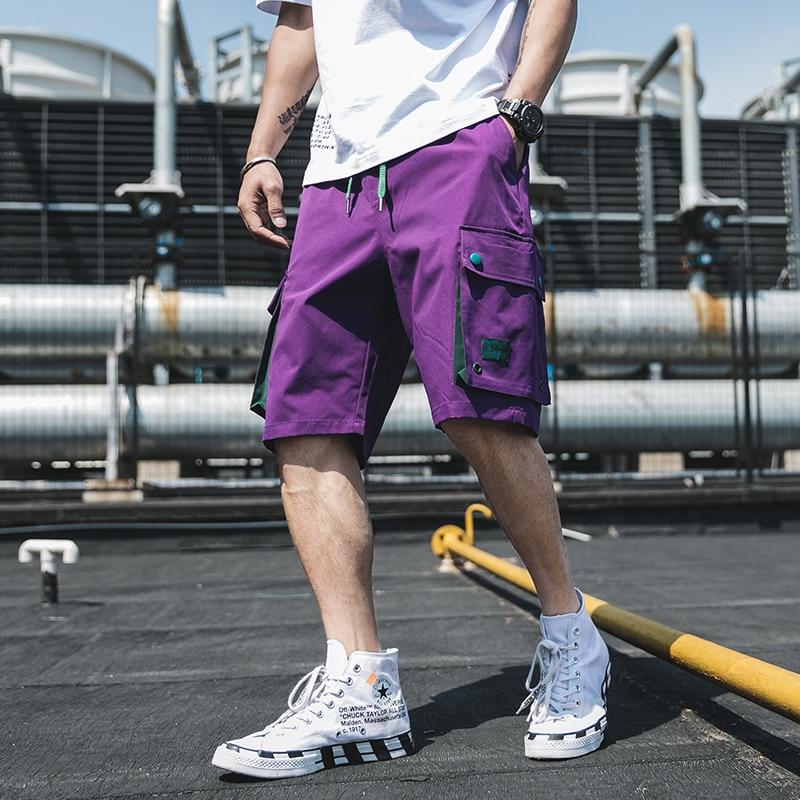 2020 Safari Style Men Summer Hip Hop Shorts Streetwear Mens Vintage Joggers Shorts Male Big Pockets Military Shorts Bermuda