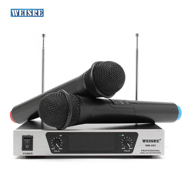 WEISRE WM-09V Professional VHF Karaoke Wireless Microphone With Dual Handheld Microphones Mic System With Receiver Transmitter professional handheld dynamic karaoke mic vhf wireless microphone system with receiver for ktv fio microfone mikrofon microfono