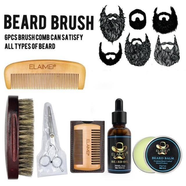 Men Beard Care Kits Beard Wax/Oil/Comb/Brush/Scissor Beard Styling Tools Set For Gift 2