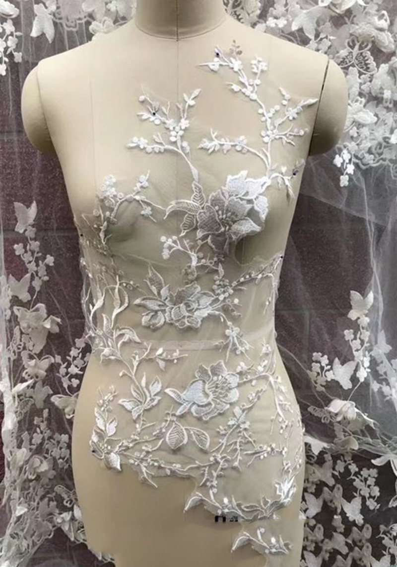 1/5Pieces Embroidery Wedding Dress Applique Ivory Patch Appliques DIY Bridal Headdress Lace Collar Fabric