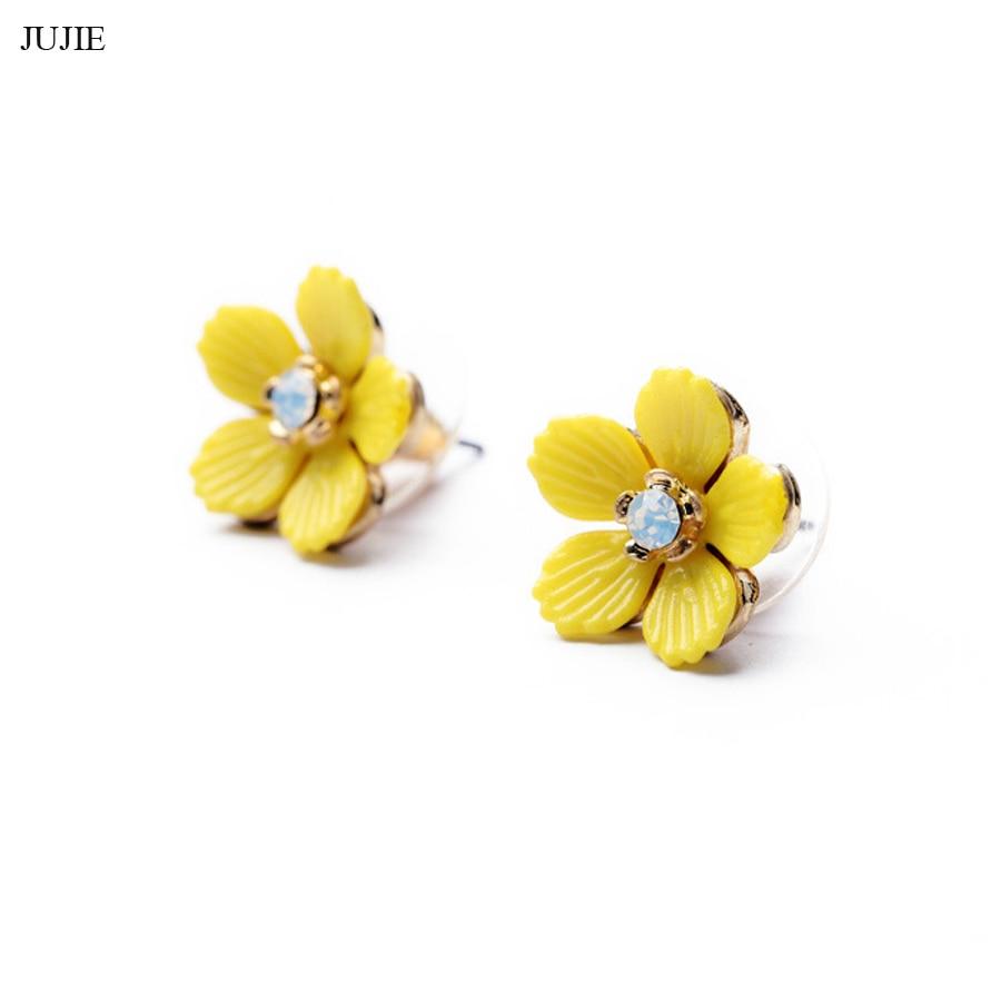 Jujie Elegant Resin Yellow Flowers Stud Earrings For Girls 2017